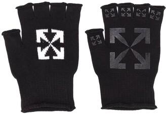 Off-White Logo Print Fingerless Gloves