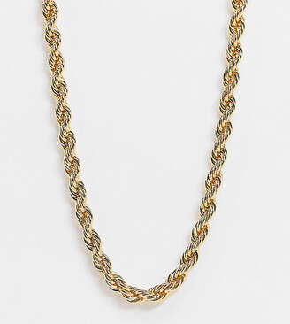 Orelia chunky 16 inch rope necklace in gold plate