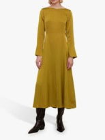 Jigsaw Boat Neck Fit and Flare Dress, Golden Brown