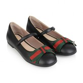 Gucci GUCCIGirls Black Leather Ballerinas With Bow