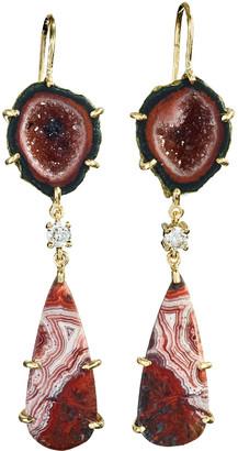 Jan Leslie 18k Bespoke 2-Tier Tribal Luxury Earrings w/ Black Druzy, Crazy Lace Agate & Diamonds