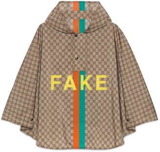 Gucci 'Fake/Not' print GG nylon cape