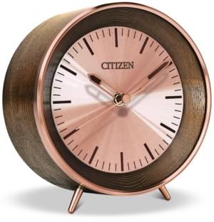 Citizen Workplace Bluetooth Brown Wood & Rose Gold-Tone Desk Clock