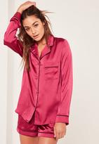 Missguided Pink Piping Detail Pyjama Set
