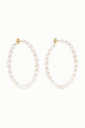 Loren Stewart Net Sustain Nina 14-karat Gold Pearl Hoop Earrings