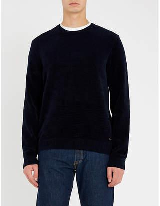 BOSS Crewneck cotton velvet jumper