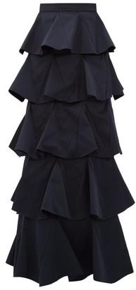 Maison Rabih Kayrouz Tiered Cotton-blend Maxi Skirt - Navy