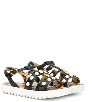 Roberto Cavalli Junior Faux Pearl Embellished Sandals