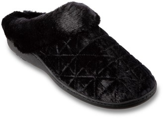 Isotoner Women's Stephanie Quilted Velour 360 Comfort Hoodback Slippers