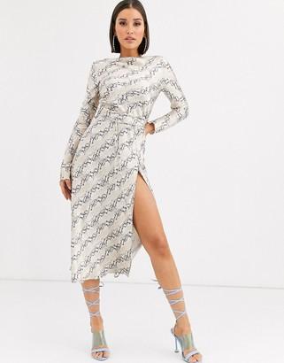 Bec & Bridge python long sleeve slip dress-Beige