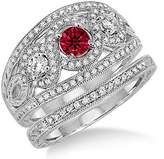 JeenJewels 2 Carat Ruby & Diamond Trilogy set Ring on 10k White Gold