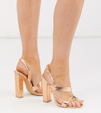Glamorous Wide Fit rose gold asymmetric block heeled sandals
