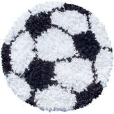 The Rug Market Shaggy Raggy Soccer Ball Children's Area Shaped Rug-3-Feetx3-Feet, White/Black
