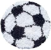 The Rug Market Shaggy Raggy Soccer Ball Children's Area Shaped Rug-3-Feetx3-Feet, White/Black