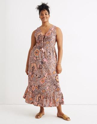 Madewell Petite Lace-Up Ruffle-Hem Midi Dress in Bali Blooms