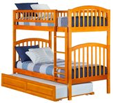 Atlantic Richland Caramel Latte Rubberwood Twin over Twin Bunk Bed with Raised Panel Trundle Bed
