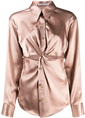T By Alexander Wang Ruched Button-Up Silk Shirt