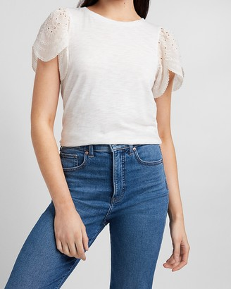 Express Eyelet Lace Sleeve Tee