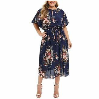 Kanpola Clothing Plus Size Kanpola Women O-Neck Floral Printed Short Sleeve Casual Dress