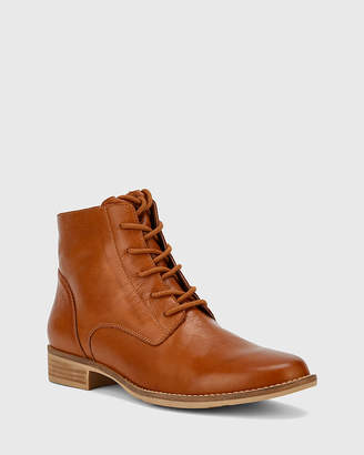 Wittner Carver Lace Up Flat Ankle Boots