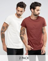 Asos 2 Pack T-Shirt With Roll Sleeve In Red/White