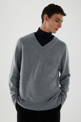 Cos Cashmere V-Neck Patch Pocket Sweater