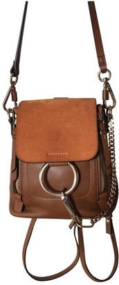 Chloé Faye Brown Leather Backpacks