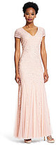 Adrianna Papell Beaded Lace V-Neck Godet Gown