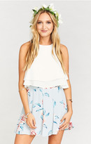 MUMU Skater Stretch Skirt ~ Flower Hour Sky