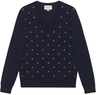 Gucci Jacquard Wool V Neck Sweater