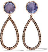 Larkspur & Hawk - Caprice 14-karat Rose Gold, Diamonds And Quartz Earrings - one size