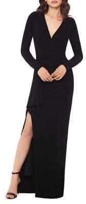 Xscape Evenings V-Neck Ruffle Leg-Slit Dress