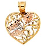 American Set Co. 14k Tri-Color Gold Heart with Butterfly Pendant Charm