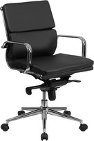 Flash Furniture BT-9895M-BK-GG Mid-Back Leather Executive Swivel Office Chair with Synchro-Tilt Mechanism