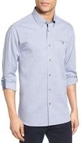 Ted Baker Men's Forray Extra Trim Fit Diamond Dobby Roll Sleeve Sport Shirt