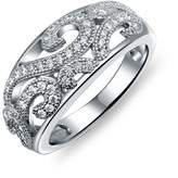 Bling Jewelry Pave Clear CZ Vintage Style Swirl Ring 925 Sterling Silver