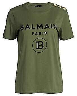 Balmain Women's Flocked Logo T-Shirt