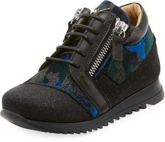 Giuseppe Zanotti Mixed Media Glitter Neoprene Sneakers, Toddler