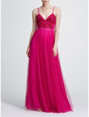 Marchesa Notte Strapless Beaded Embellished Gown