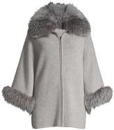 Sofia Cashmere Fox Fur-Cuff & Collar Cashmere Coat