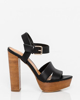 Le Château Faux Leather Platform Open Toe Sandal