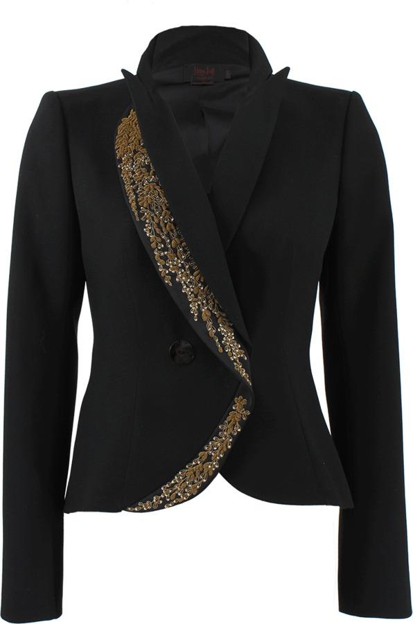 L'Wren Scott Gold Embroidered Detail Blazer