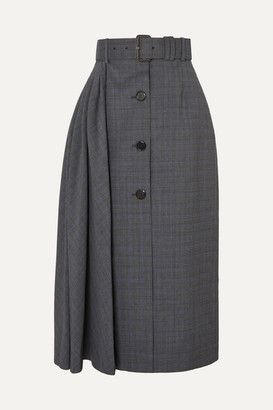 Prada Pleated Prince Of Wales Checked Wool-blend Midi Skirt - Gray