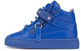 Giuseppe Zanotti Leather High-Top Sneaker, Royal Blue, Infant/Toddler
