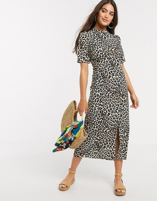 Asos DESIGN midi tea dress with buttons and split detail in leopard print