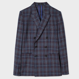 Paul Smith Men's Tailored-Fit Navy And Damson Check Wool-Silk Double-Breasted Blazer