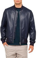 Paul Smith Navy Leather Bomber