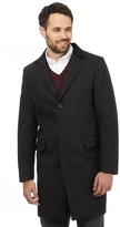 J By Jasper Conran Big And Tall Dark Grey Wool Blend Dogtooth Checked Overcoat