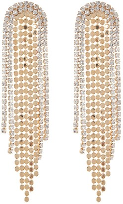 Natasha Accessories Gold Plated Crystal Chandelier Earrings