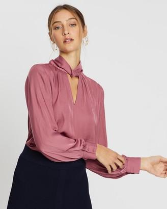 SABA Lillian Twist-Neck Long Sleeve Top